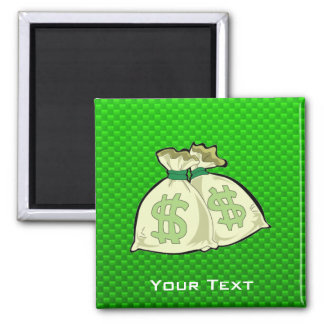 Money Bags; Green 2 Inch Square Magnet
