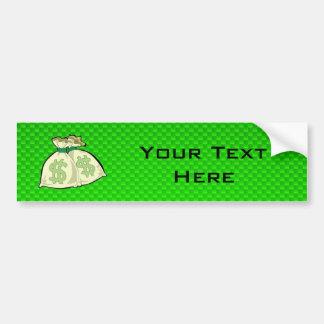Money Bags; Green Car Bumper Sticker