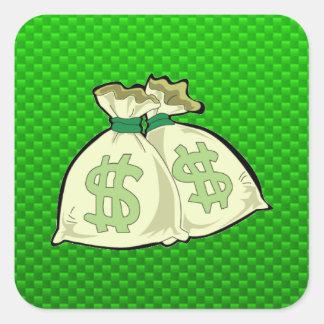 Money Bags; Green Square Sticker