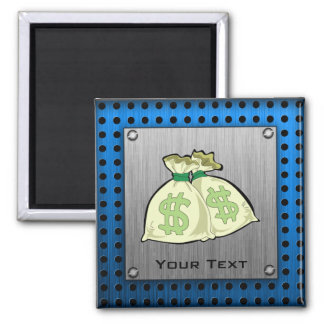 Money Bags; Metal-look 2 Inch Square Magnet