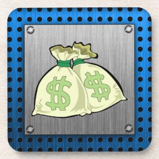 Money Bags; Metal-look Beverage Coaster