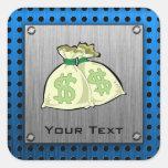 Money Bags; Metal-look Square Sticker