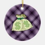 Money Bags; Purple Ornament