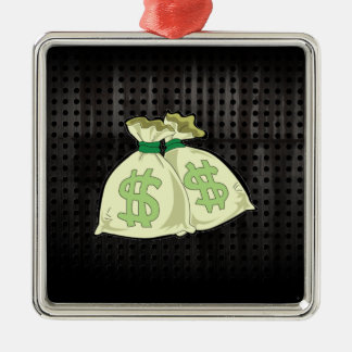 Money Bags; Rugged Metal Ornament