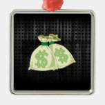 Money Bags; Rugged Square Metal Christmas Ornament