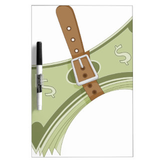 Money Budget Tightening Belt Metaphor Dry-Erase Board