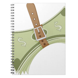 Money Budget Tightening Belt Metaphor Spiral Notebook