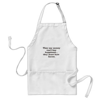 Money Can't Buy Happiness Bacon2 Black Brown Red Adult Apron