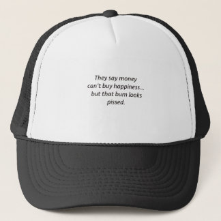 Money Can't Buy Happiness Bum Black Blue Red Trucker Hat