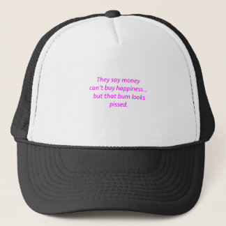 Money Can't Buy Happiness Bum Yellow Green Pink Trucker Hat