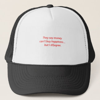 Money Can't Buy Happiness Di$agree Black Blue Red Trucker Hat