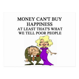 money can't buy happiness. ha ha postcard