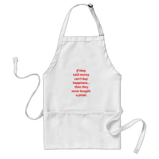 Money Can't Buy Happiness Jetski2 Black Blue Red Adult Apron