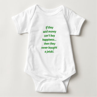 Money Can't Buy Happiness Jetski2 Yellow Green Pnk Baby Bodysuit