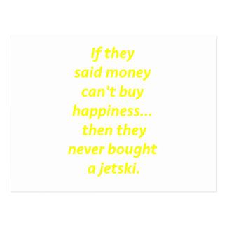 Money Can't Buy Happiness Jetski2 Yellow Green Pnk Postcard