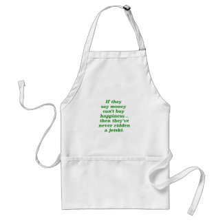 Money can't Buy Happiness Jetski Yellow Green Pink Adult Apron