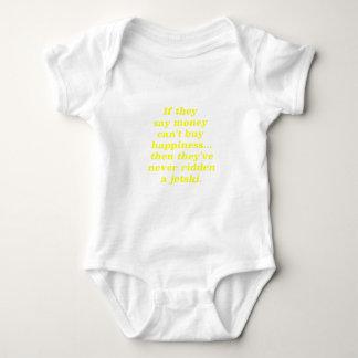 Money can't Buy Happiness Jetski Yellow Green Pink Baby Bodysuit