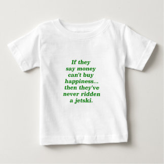 Money can't Buy Happiness Jetski Yellow Green Pink Baby T-Shirt