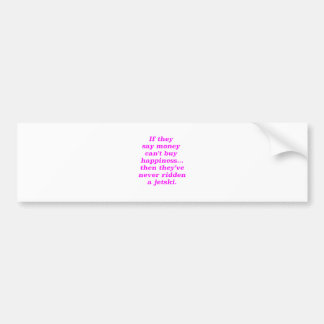 Money can't Buy Happiness Jetski Yellow Green Pink Bumper Sticker