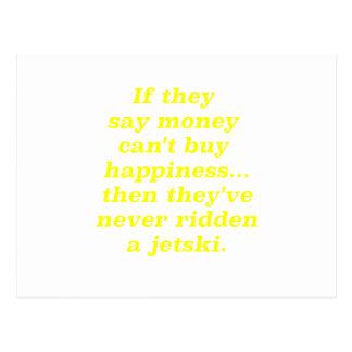Money can't Buy Happiness Jetski Yellow Green Pink Postcard