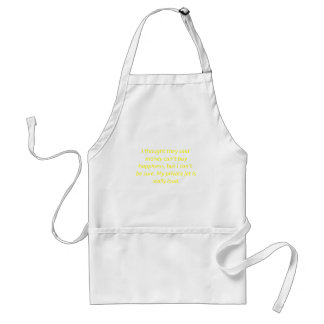 Money Can't Buy Happiness Private Jet Yellow Green Adult Apron