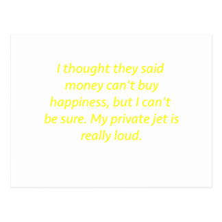 Money Can't Buy Happiness Private Jet Yellow Green Postcard