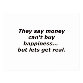 Money Can't Buy Happiness Real Black Blue Red Postcard