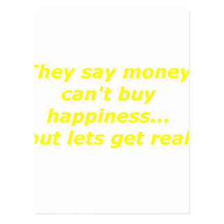 Money Can't Buy Happiness Real Yellow Green Pink Postcard