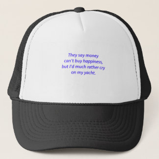 Money Can't Buy Happiness Yacht Black Blue Red Trucker Hat