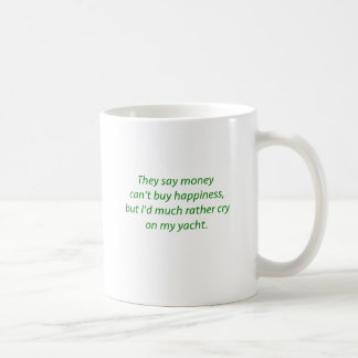 Money Can't Buy Happiness Yacht Yellow Green Pink Coffee Mug
