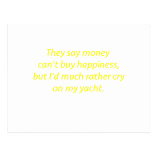 Money Can't Buy Happiness Yacht Yellow Green Pink Postcard