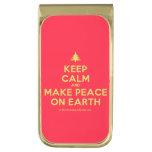 [Xmas tree] keep calm and make peace on earth  Money Clip