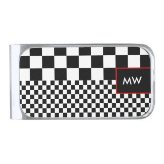 Money Clip, Black and White, Red Accents Silver Finish Money Clip