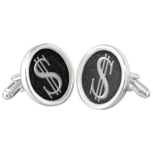 Money Dollar Sign SilverBlack Mens Cuff Links