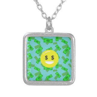 money eyed emoji silver plated necklace