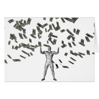 Money Falling From the Sky with Man Below Stationery Note Card