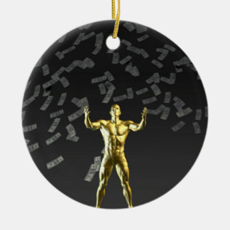 Money Falling From the Sky with Man Below Ceramic Ornament