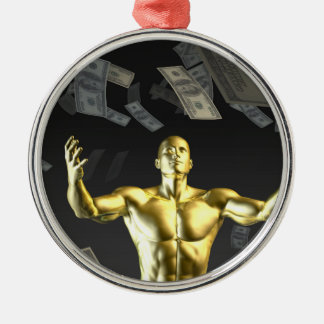 Money Falling From the Sky with Man Below Metal Ornament