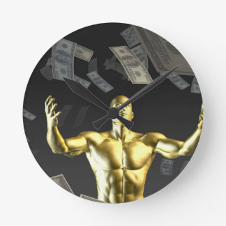Money Falling From the Sky with Man Below Round Wallclock