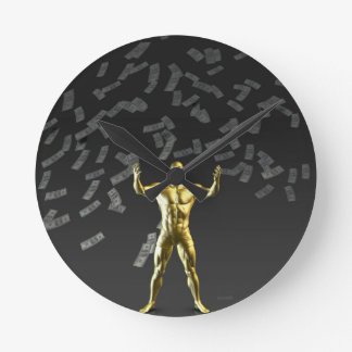 Money Falling From the Sky with Man Below Round Wallclocks