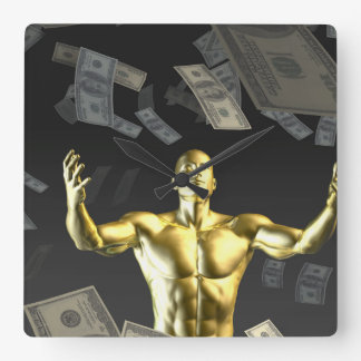 Money Falling From the Sky with Man Below Square Wallclock
