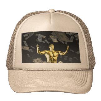 Money Falling From the Sky with Man Below Trucker Hat