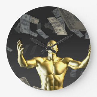Money Falling From the Sky with Man Below Wall Clock