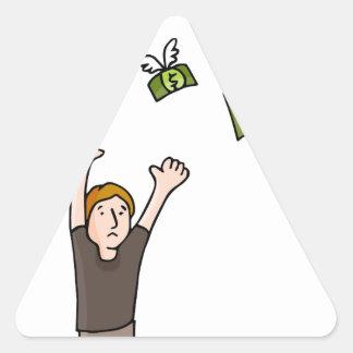 Money Flying Away Cartoon Triangle Sticker