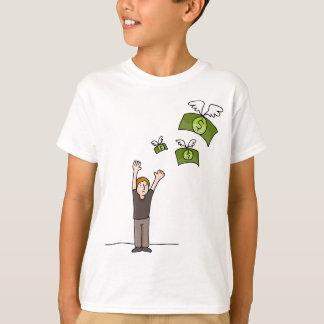 Money Flying Away Cartoon T-Shirt