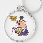 money hog funny rich pig cartoon keychain