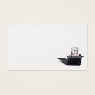 Money in manual typewriter business card