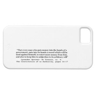 Money Into The Hands Of A Government L Spooner iPhone SE/5/5s Case