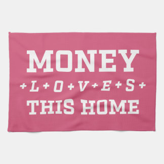 Money Loves This Home Affirmation Customizable Hand Towel
