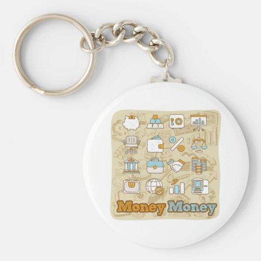 Money Money Basic Round Button Keychain